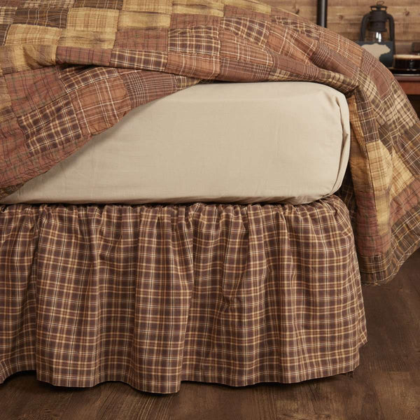 Prescott Bed Skirts Dark Brown, Light Tan, Creme VHC Brands - The Fox Decor