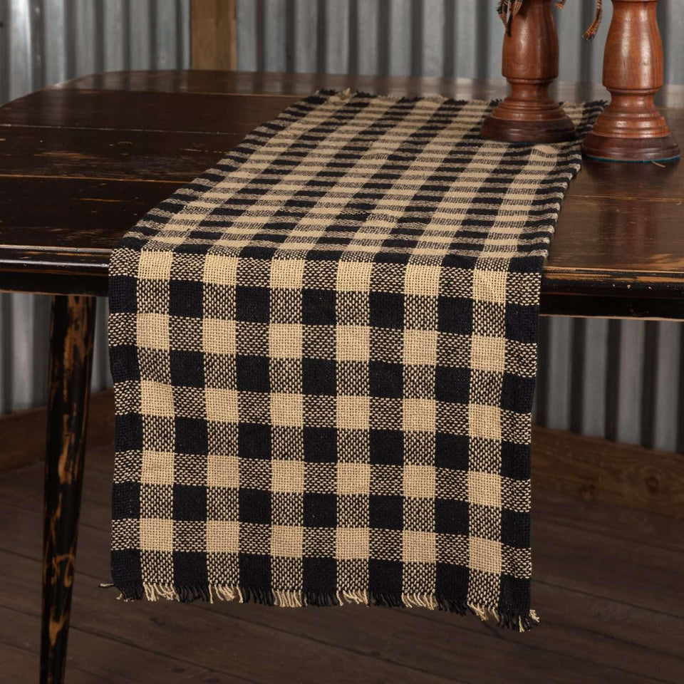 Burlap Black Check Runner Fringed 13x36 VHC Brands