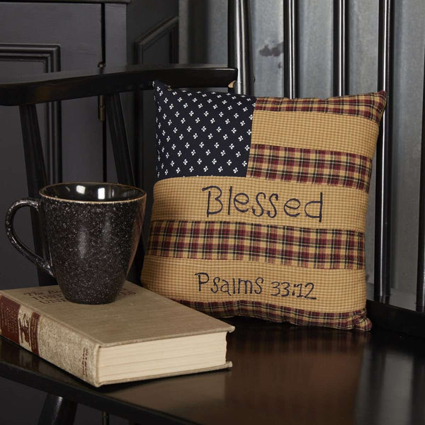 "Patriotic Patch Pillow Blessed 10""x10"" Deep Red, Khaki, Navy VHC Brands - The Fox Decor"