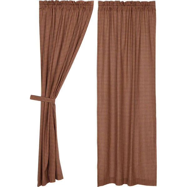 "Patriotic Patch Plaid Panel Curtain Set of 2 84""x40"" VHC Brands - The Fox Decor"