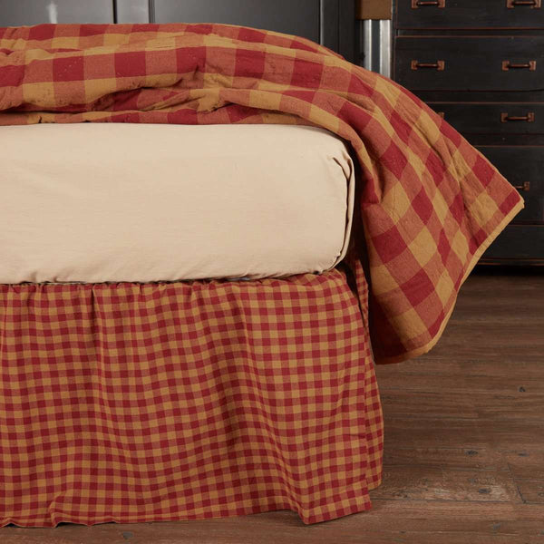 Burgundy Check Bed Skirts VHC Brands - The Fox Decor