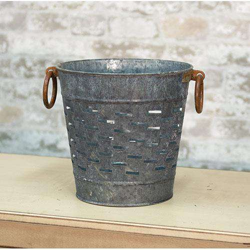 "9"" Galvanized Olive Bucket Buckets & Cans CWI+"