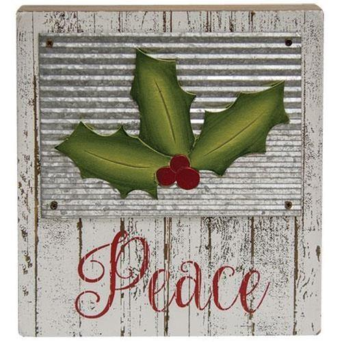 Holly Jolly Box Sign, 'Peace' 'Believe' Set of 2 Christmas Decor