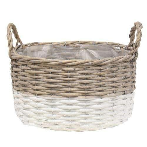 3/Set, White Dipped Willow Bushel Basket Planters