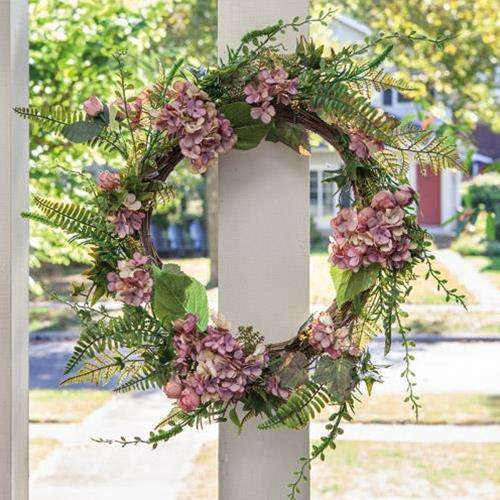 "Mauve Hydrangea Wreath, 22"" - The Fox Decor"