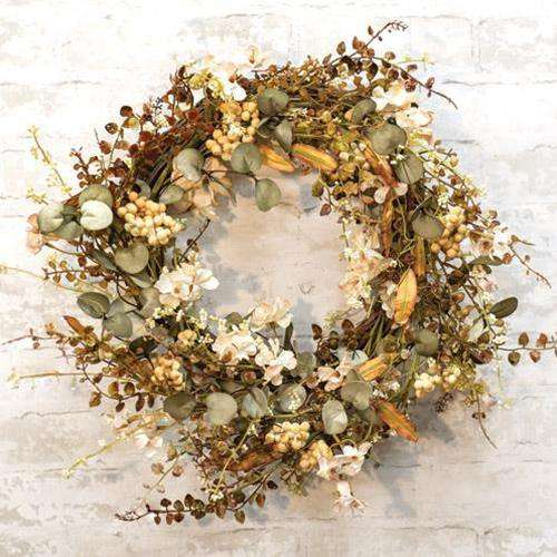 Mixed Cream Fall Floral Wreath - The Fox Decor