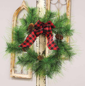 Pine Wreath W/ Buffalo Check Bow
