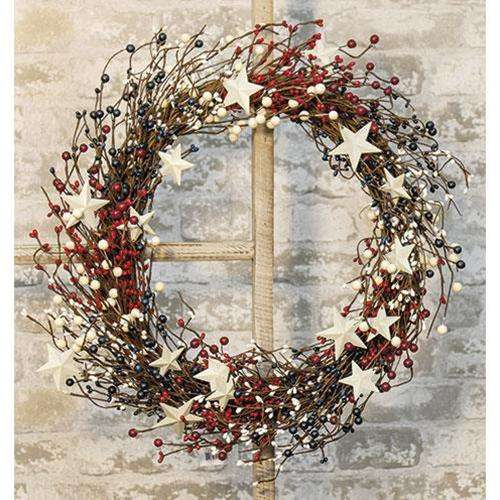 "Americana Berry Wreath w/Metal Stars, 22"" - The Fox Decor"