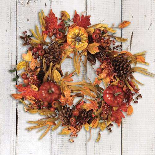 "Harvest Pumpkin & Berry Wreath, 24"" - The Fox Decor"