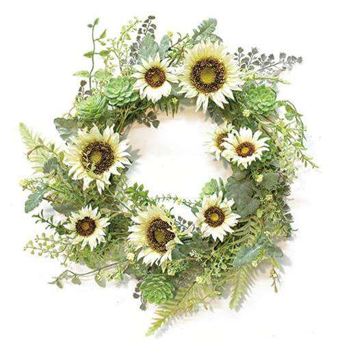 "Sunwashed Succulent Wreath, 24"" - The Fox Decor"