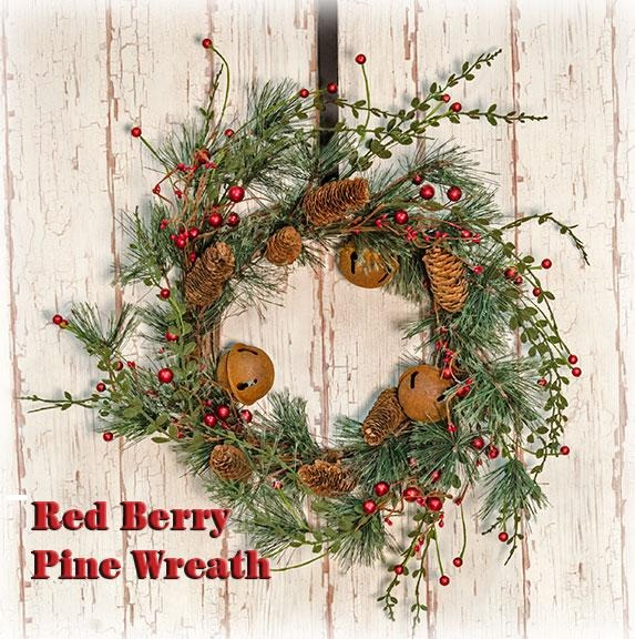 Red Berry Pine Wreath, 22