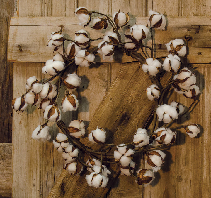 Country Cotton Ball Wreath, 20""