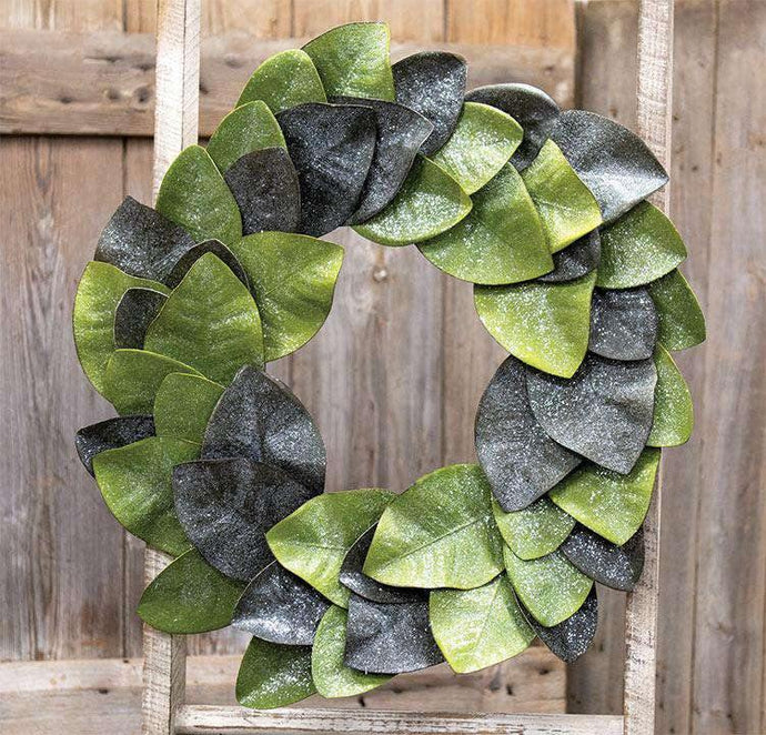 Vintage Glitter Magnolia Leaves Wreath, 22