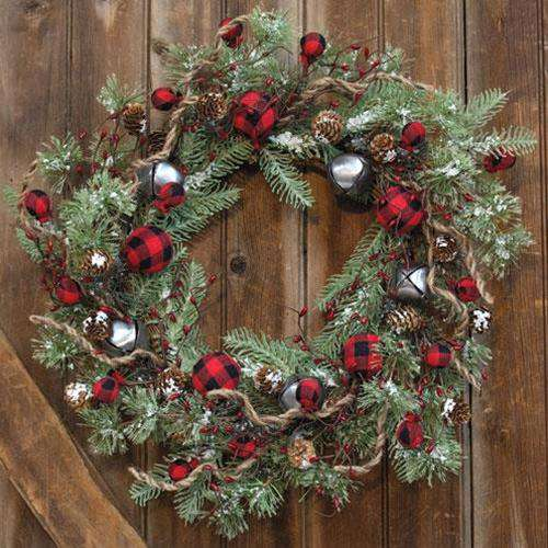 "Buffalo Gingham Country Holiday Wreath, 24"" - The Fox Decor"