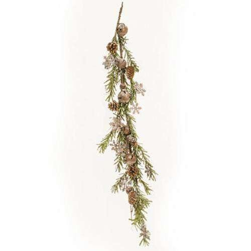 Rusty Glitter Bell & Snowflake Pine Garland, 4ft zoom