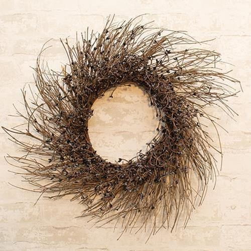 Gray & Black Pip Twig Wreath, 22