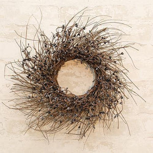Gray & Black Pip Twig Wreath, 16""