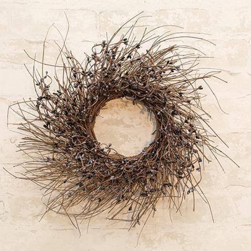 Gray & Black Pip Twig Wreath, 16