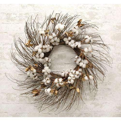 Cotton Branch Wreath, 24""