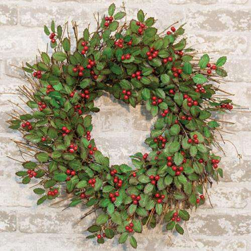 "Holly Wreath w/Berry, 22"" - The Fox Decor"
