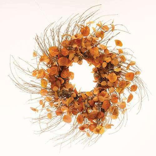 "Penny Leaf Wreath, 26"", Red"