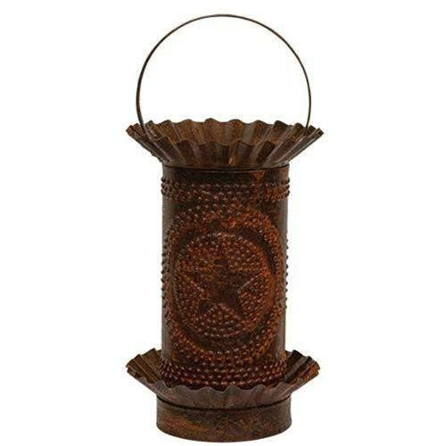 Rusty Mini Tart Warmer w/Punched Stars