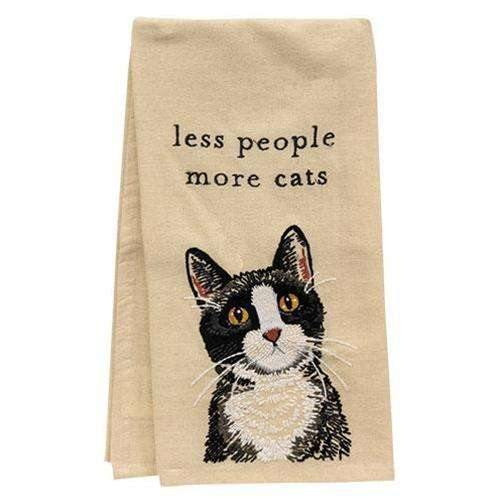 Less People More Cats Dish Towel