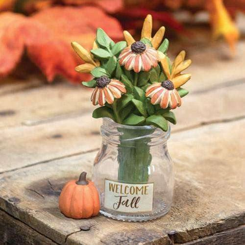 Welcome Fall Vase w/Resin Flowers