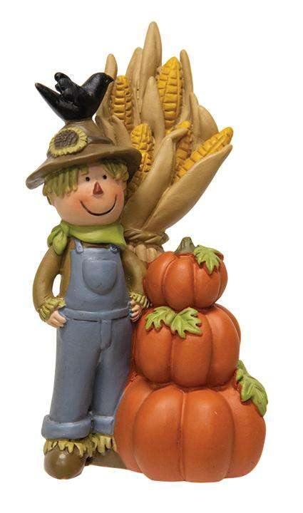 Resin Scarecrow With Cornstalks and Pumpkins