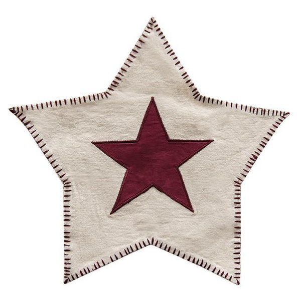 Red Star-Shaped Candle Mat
