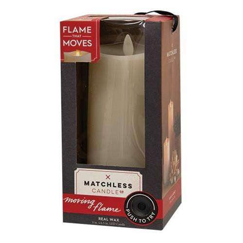 "Matchless Flame Candle, 3""x6.5"""