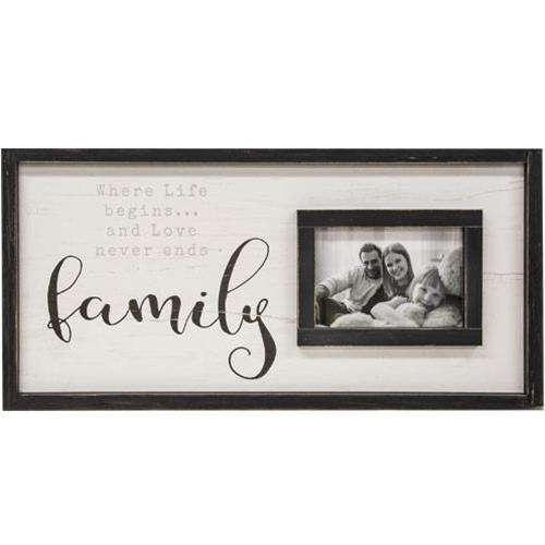 Family Framed Sign With Picture Frame, 12x24