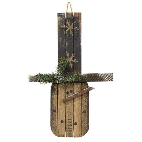 Primitive Lath Hanging Snowman w/Flakes, 2 Foot