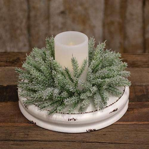 White Distressed Double Candle Plate, 10""