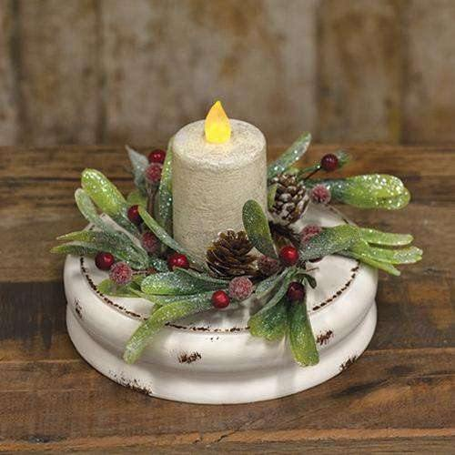 White Distressed Double Candle Plate, 7""