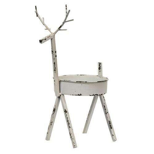 White Distressed Deer Candle Holder, 12