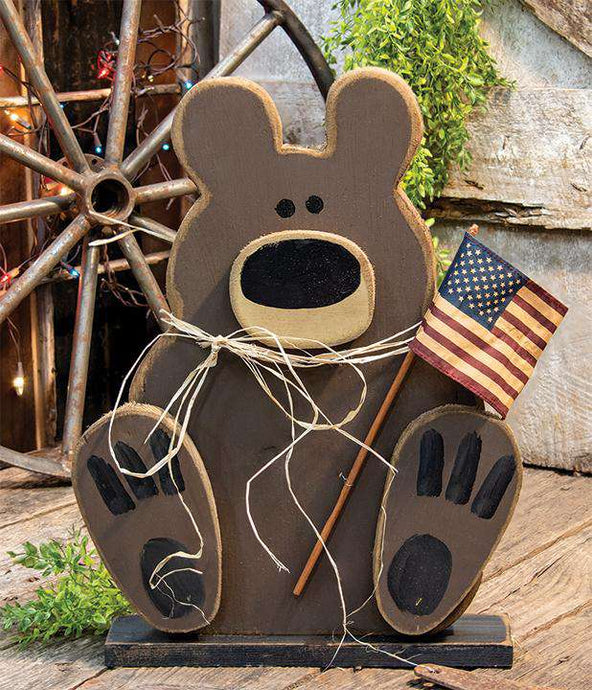 Wooden Americana Teddy on Base