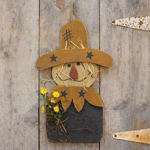 Wood Scarecrow w/Fall Florals, 2 Ft.