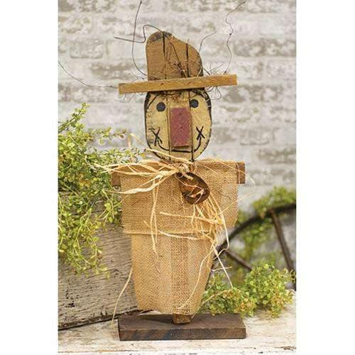 Burlap Scarecrow on Base, 20""