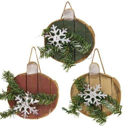 Lath Christmas Ball Ornament, 3 Asstd.