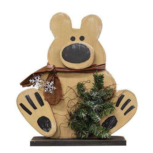 "Wooden Polar Bear on Base, 19"" Christmas Decor"
