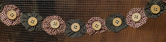 Rag Garland w/ Wood Buttons