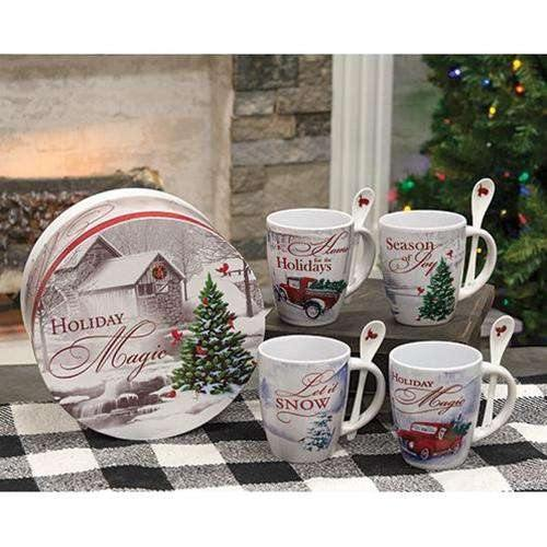 Christmas Latte Mugs w/Spoons Gift Set