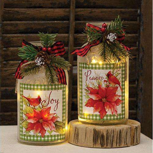 2/set Lighted Frosted Glass Poinsettia Bottle - The Fox Decor