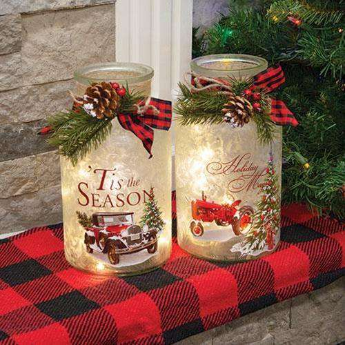 2/set Lighted Frosted Glass Holiday Vehicle Bottle - The Fox Decor