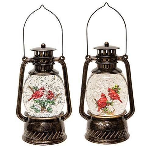 Lighted Cardinal Water Globe Lantern, Set of 2