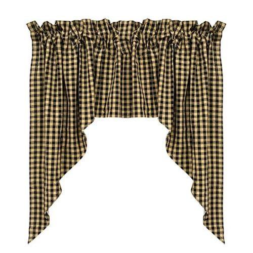 Black Check Swag Curtain Set of 2 36x36x16