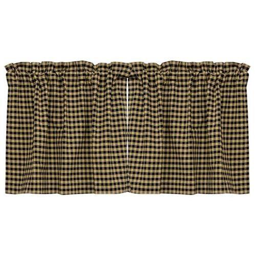 "Black Check Tier Curtain Set of 2 24""x36"""