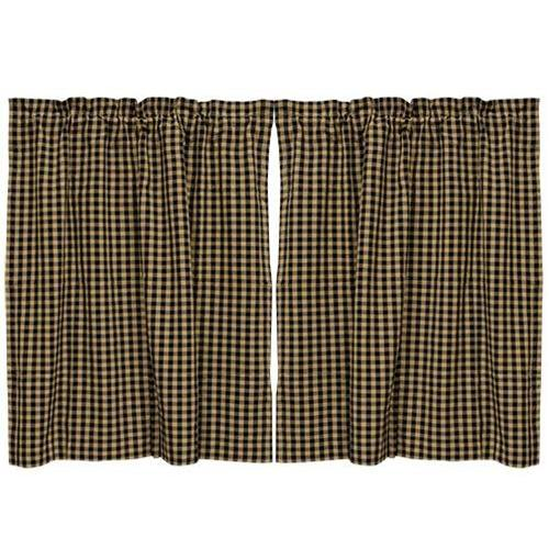 Black Check Tier Curtain Set of 2 36