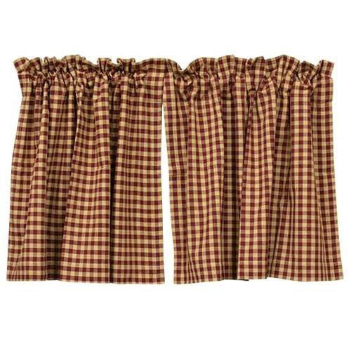 "Burgundy Check Tier Curtain Set of 2 24""x36"""